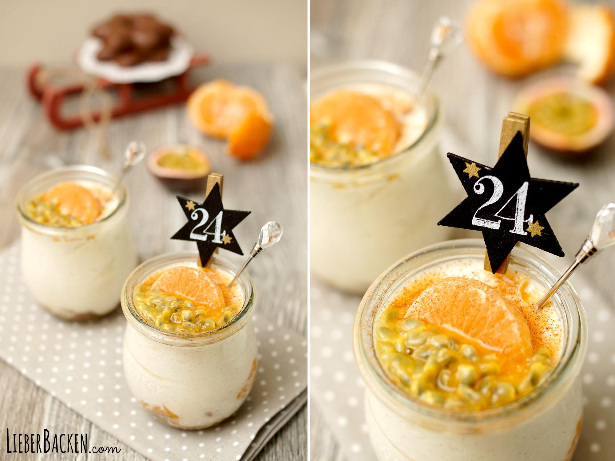 Weihnachtsdessert im Glas mit Mandarinen